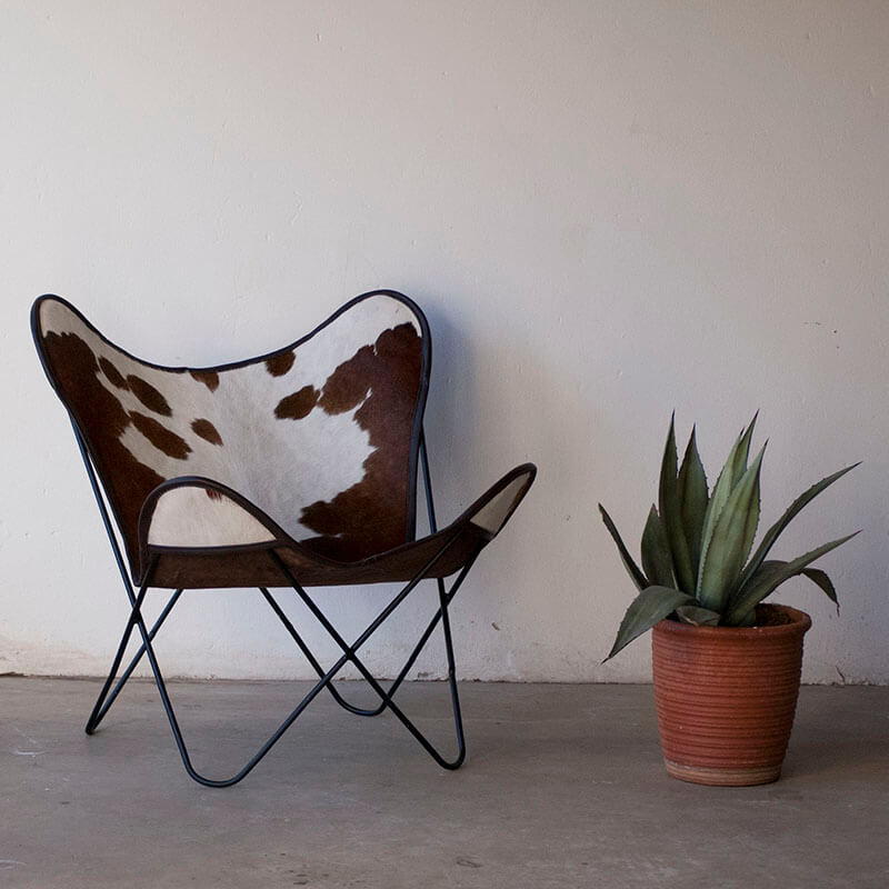 Dark Brown Large Spotted Nguni Butterfly Chair
