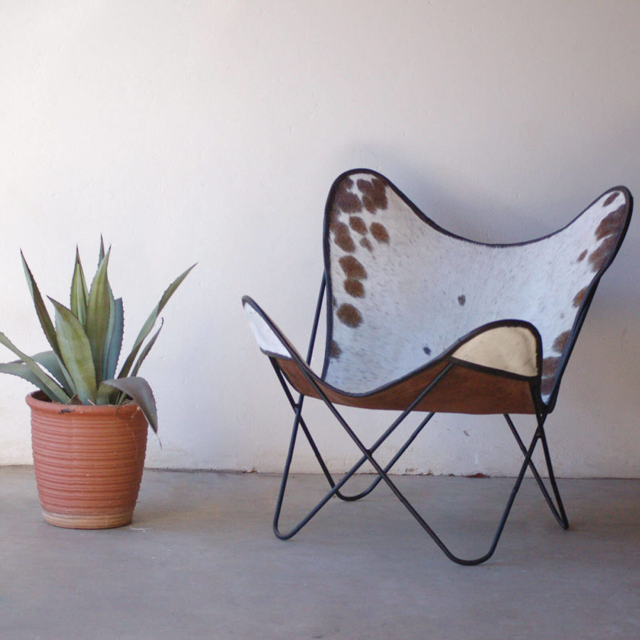 Medium Brown Spotted Sides with White Center Nguni Hide Butterfly Chair