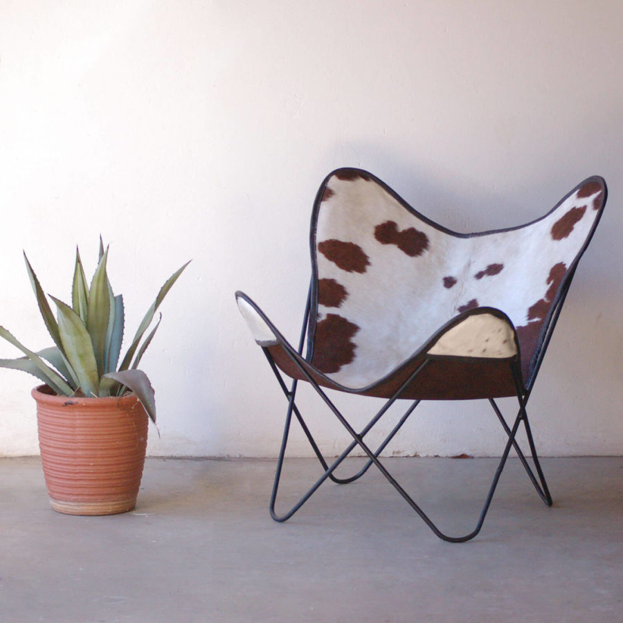 Sparse Medium Brown Spotted White Nguni Hide Butterfly Chair