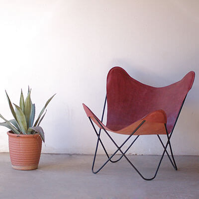 Red Leather Butterfly Chair