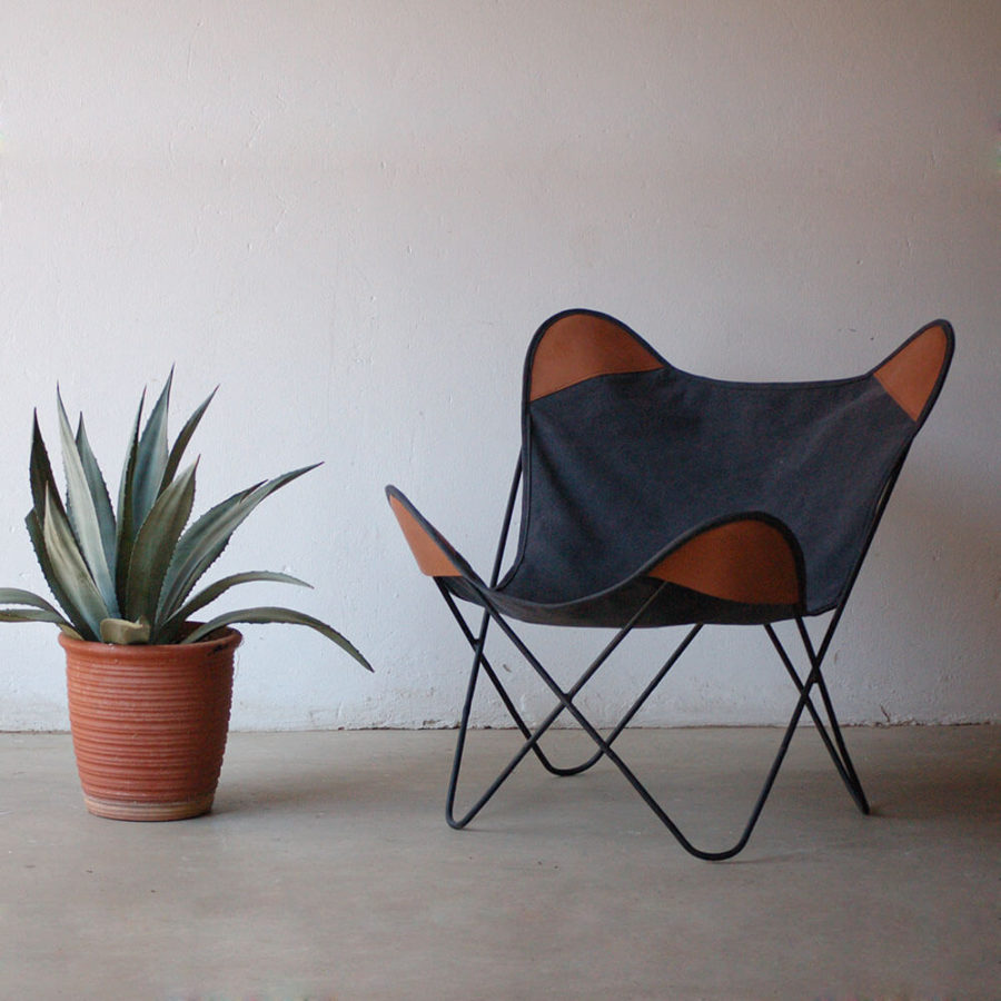 Leather & Canvas Butterfly Chair